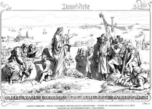 Billedet er en tegning, som viser hvordan kunstneren forestillede sig Thyra, som giver ordrer til de mænd, med skovle m.m. der skal bygge Dannevirke.