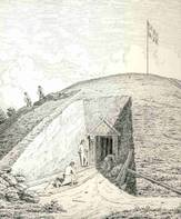 Drawing showing excavation into the south side of the North Mound. Drawn by J. Kornerup in 1875.