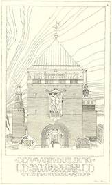 Gate tower of the Danish building at the world exhibition in San Francisco, 1915 (Anton Rosen, published in Architekten, 1914).