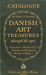 The catalogue from the Danish exhibition at the Victoria and Albert Museum in 1948. The catalogue is dark green with yellow lettering.
