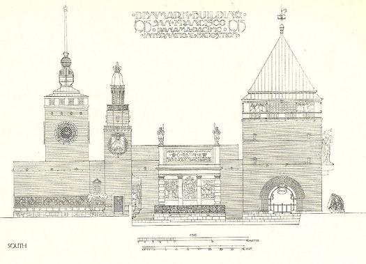 The Danish building at the world exhibition in San Francisco, 1915 (Anton Rosen, published in Architekten, 1914).