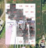 Billede, som viser resultatet af magnetometernundersøgelserne i Jelling 2007 og 2008.