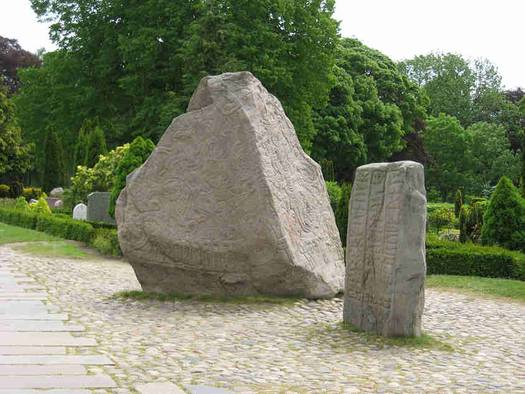 "Photo of ""the large"" and ""the small"" Jelling stones."