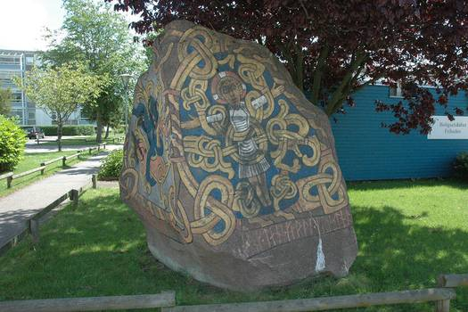 Replica of Harald Bluetooth's rune stone in Hvidovre. Photo: Torben Dehn.
