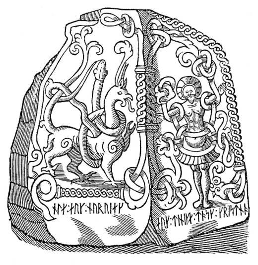 Billedet viser en stregtegning af Jellingstenen.
