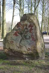 Kopi af Harald Blåtands runesten i Jelling ved Varde Museum. Foto: Lene B. Frandsen, Varde Museum.