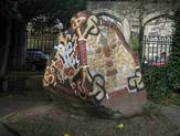 Replica of Harald Bluetooth's rune stone, next to St Katherine's Church in London. Photo: Michael Andersen.