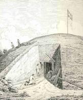 tegning som viser indgravningen i sydsiden af Nordhøjen. Tegnet af J. Kornerup i 1875