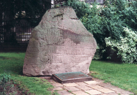 Replica of Harald Bluetooth's rune stone from Jelling in Rouen. Photo: Anne Pedersen.